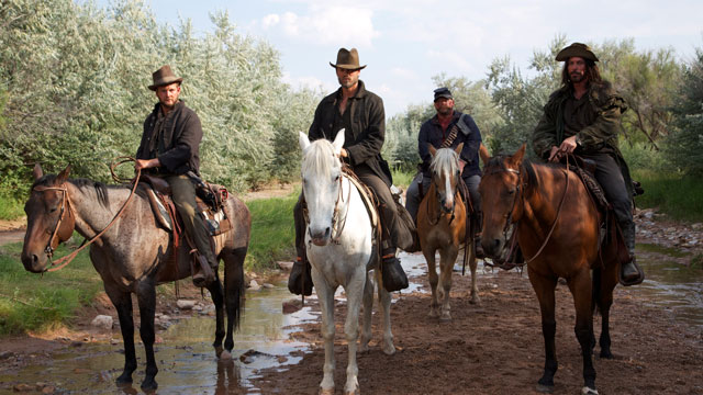 "(L-R) Marty Lindsey as Samuel, Chad Michael Murray as Henry, Keith Loneker as Little Joe, and Nathan Russell as Charles in the western ""OUTLAWS AND ANGELS"". Photo credit: Momentum Pictures © 2016."